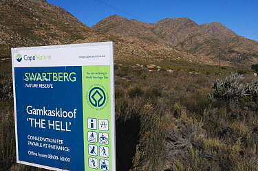 Sign for 'die Hel', 'the Hell' semi-arid desert, Swartberg Nature reserve Western Cape, South Africa, April 2011  -  Tony Phelps/ npl