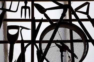 Silhouette of gardening tools, UK  -  Ernie Janes/ npl