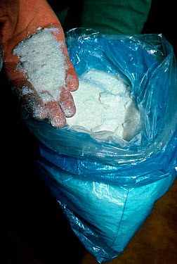 One kilo bag of 100% pure cocaine crystal with a street value of $1,200,00000 La Paz, Bolivia  -  Jeff Rotman/ npl