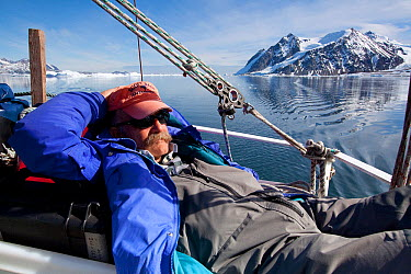 Dr Robert (Bob) Pitman, from US National Marine Fisheries Service, working as scientific advisor on series in Antarctica Relaxing on boat prior to finding whales Taken on location for BBC Frozen Planet series, Winter  -  Kathryn Jeffs/ NPL
