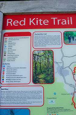 Red Kite trail information sign in the Urban Red Kite area of the Derwent Valley, Gateshead, Tyne and Wear, UK, on the edge of Tyneside following on from the 'Northern Kites' re-introduction programme...  -  Rob Jordan/ 2020V/ npl