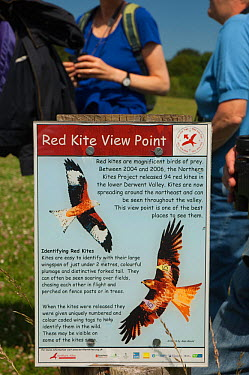 Red Kite information board in the Urban Red Kite area of the Derwent Valley, Gateshead, Tyne and Wear, UK, on the edge of Tyneside following on from the 'Northern Kites' re-introduction programme betw...  -  Rob Jordan/ 2020V/ npl