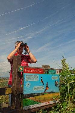 Birdwatcher and information sign on the Red Kite trail in the Urban Red Kite area of the Derwent Valley, Gateshead, Tyne and Wear, UK, on the edge of Tyneside following on from the 'Northern Kites' re...  -  Rob Jordan/ 2020V/ npl