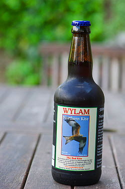 Bottle of Red Kite beer in the Urban Red Kite area of the Derwent Valley, Gateshead, Tyne and Wear, UK, on the edge of Tyneside following on from the 'Northern Kites' re-introduction programme between...  -  Rob Jordan/ 2020V/ npl