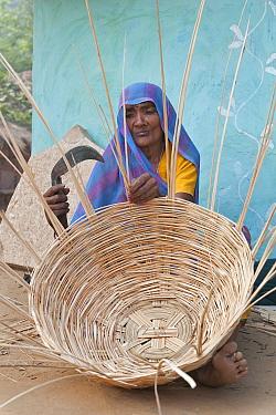 Village life with an elderly woman making basket, Bayana, Rajasthan, India  -  Bernard Castelein/ npl