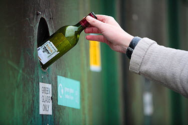 Person putting a green glass bottle into a recycling bank at a recycling centre, Stroud, Gloucestershire, UK, February 2008  -  Nick Turner/ npl