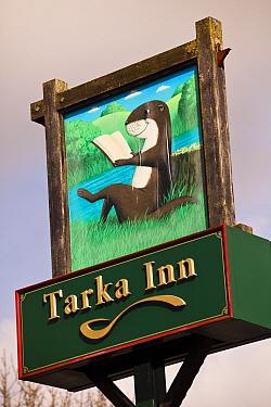 Close up of the Tarka Inn information pub sign on the The Tarka Trail cycle path, Devon, UK, March 2010  -  Nick Turner/ npl