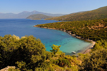 Mikri Laka beach with the southeast tip of Samos and Mount Mycale in Turkey's Dilek Peninsula National Park in the background, east coast of Samos, August 2011  -  Nick Upton/ npl