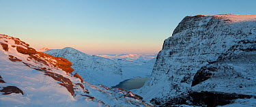 Panoramic view of Sgurr an Fhidhleir and Lochan Tuath, seen from Ben More Coigach, Wester Ross, UK, December 2010  -  Mark Hamblin/ 2020V/ npl