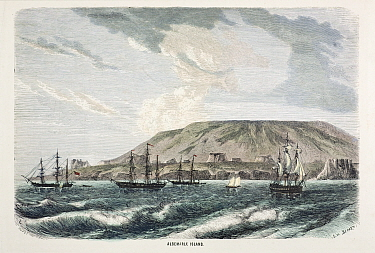 Illustration of 'Albemarle Island' (now Isabela) engraving by Huyot and Bepard facing page 520 in 'All Around the World' published in 1872 by William Collins and Son Shows the large caldera of a volca...  -  Paul D Stewart/ npl