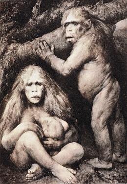 Pithecanthropus europeaus alalus (european speechless ape-man) by Gabriel Max, 1894, reproduced as Photogravure Plate 29 in Ernst Haeckel 'Naturliche Schopfungs-Geschichte' (Natural History of Creatio...  -  Paul D Stewart/ npl