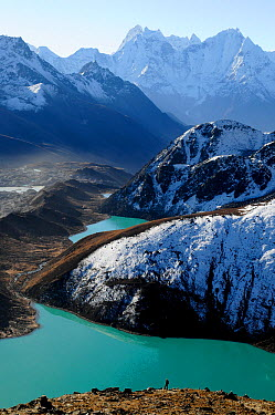 Looking down on Dudh Pokhari Lake (4800m), Gokyo, Sagarmatha National Park (World Heritage UNESCO) Khumbu, Everest Region, Nepal, Himalaya, October 2011  -  Enrique Lopez Tapia/ npl