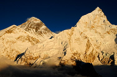 Everest (8848m) and Nuptse (7879m) at sunset, Sagarmatha National Park (World Heritage UNESCO) Khumbu, Everest Region, Nepal, Himalaya, October 2011  -  Enrique Lopez Tapia/ npl