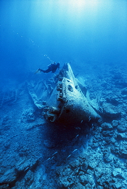 Diver on the wreck of the US Submarine tender USS Macaw, sunk in the World War II due to a navigation error, Midway atoll, Pacific Ocean  -  Michael Pitts/ npl