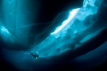 Scuba diver under and between ice formations, Lake Sassolo, Sambuco valley, Ticino, Switzerland  -  Franco Banfi/ npl