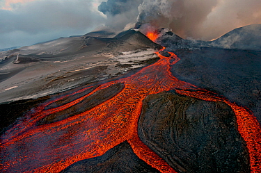 Tolbachik Volcano erupting with lava flowing down the mountain side Kamchatka, Russia November 29th 2013 Winner of the Wildscapes category, Wildlife Photographer of the Year Awards (WPOY competition)...  -  Sergey Gorshkov/ npl