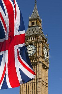 Big Ben and Union Jack Flag, Westminster, London, England, UK, June 2013  -  Ernie Janes/ npl