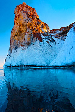 Ice on rock formations formed by splashes, Lake Baikal, Siberia, Russia, March  -  Olga Kamenskaya/ npl