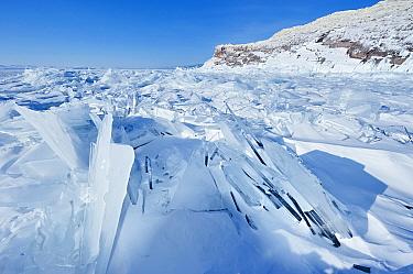 Landscape of Lake Baikal, frozen in early spring, with ice shelves and cracks, Lake Baikal, Siberia, Russia, March  -  Olga Kamenskaya/ npl