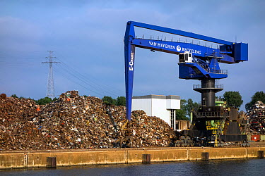 Dock crane and heap of scrap metal for recycling, Port of Ghent, Belgium, July 2013  -  Philippe Clement/ npl