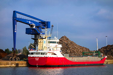 Dock crane and heap of scrap metal for recycling, with cargo boat moored alongside, Port of Ghent, Belgium, July 2013  -  Philippe Clement/ npl