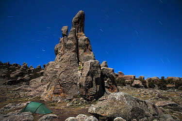 Photographers tent under the stars and granite cliffs of Rafu Bale Mountains National Park, Ethiopia, December 2011  -  Will Burrard-Lucas/ npl