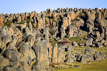 An Oromo hut amongst the granite formations of Rafu Bale Mountains National Park, Ethiopia, December 2011  -  Will Burrard-Lucas/ npl