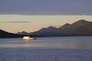 Fishing boat at mouth of Dog Salmon River, Olga Bay, Kodiak Island, Alaska, USA, August 2013  -  Lynn M. Stone/ npl
