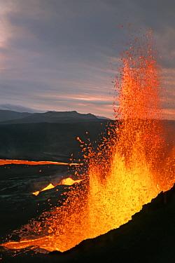 Fissure eruption of Volcan Chico into 9 km diameter caldera, Fernandina Island, Galapagos  -  Tui De Roy/ npl