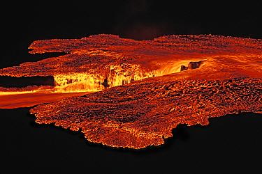 Rivers of molten lava showing surface cooling, inside caldera of Sierra Negra Volcano, Galapagos Islands  -  Tui De Roy/ npl