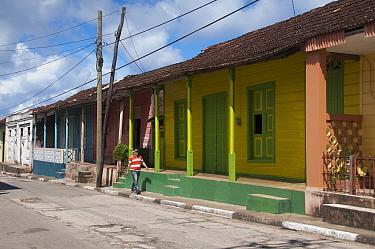 Man walking along row of colourful houses with wooden shutters, Baracoa, Guantanamo province, Eastern Cuba, November 2011  -  npl/ npl
