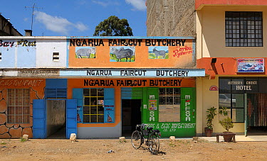 Small shops including a butchers with a bicycle outside, Kenya, October 2013  -  Loic Poidevin/ NPL