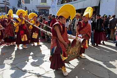 Buddhist monks playing long trumpets (Lawa) during Torgya festival Galdan Namge Lhatse Monastery, Tawang, Arunachal Pradesh, India January 2014  -  Bernard Castelein/ npl