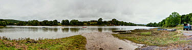 Panoramic view of the River Teifi, StDogmaels near Cardigan, Ceredigion, Wales, United Kingdom, September 2013  -  Graham Brazendale/ npl
