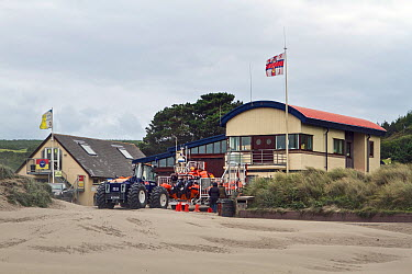 Cardigan Lifeboat station, situated at Poppit Sands on the southern side of the estuary of the River Teifi, near Cardigan, Pembrokeshire, Wales, United Kingdom, September 2013  -  Graham Brazendale/ npl
