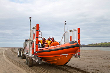 Cardigan volunteer lifeboat crew busy recovering their new Atlantic 85 lifeboat, Albatross, newly arrived on the station Cardigan Lifeboat station is situated at Poppit Sands on the southern side of t...  -  Graham Brazendale/ npl