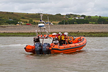 Cardigan volunteer lifeboat crew recovering their new Atlantic 85 lifeboat Albatross Poppit Sands, River Teifi, near Cardigan, Pembrokeshire, Wales, United Kingdom, September 2013  -  Graham Brazendale/ npl