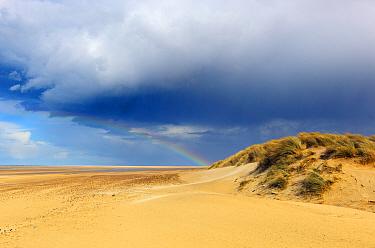 Rainbow over Holkham Bay National Nature Reserve, Norfolk, UK, April 2013  -  Ernie Janes/ npl