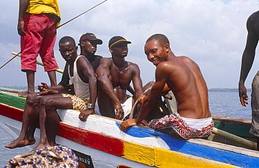 Passengers aboard cargo service to Port Loko Sierra Leone, 2004-2005  -  Steve O. Taylor/ npl