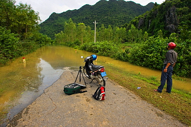 Man with motorbike looking at road impasssable after flooding, Phong Nha Ke Bang National Park, Vietnam  -  Matthew Maran/ npl