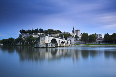The Pont St-Benezet, Palais des Papes and Rhone River at dusk, Avignon, Provence, France, October 2012  -  David Noton/ npl