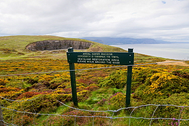 Fenced off Heathland restoration area with information sign, The Bishops Quarry, Great Orme, North Wales, UK, August  -  Chris Mattison/ npl
