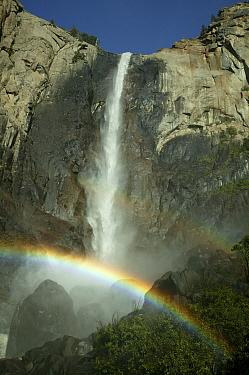 Sunlight creating a rainbow in the spray of the Bridalveil Falls, Yosemite National Park, California, USA, June 2008  -  Thomas Lazar/ npl