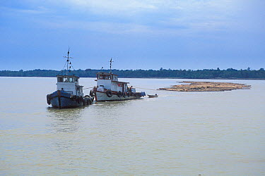 Log rafts being pulled by boats on Rejang river, Borneo, Sarawak, Malaysia  -  Jouan & Rius/ npl