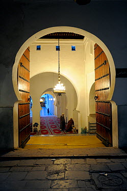 Keyhole doorway to Mosque Kairaouine, Africa's largest and oldest university Fes, Morocco, December 2010  -  Fabio Liverani/ npl