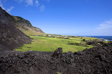 Houses in Edinburgh of the Seven Seas, the main settlement on Tristan da Cunha, surrounded by solidified lava, South Atlantic Islands, March 2007  -  Troels Jacobsen/ npl