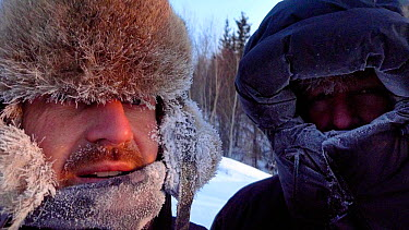 Cameraman Jeff Turner and Producer Chadden Hunter exposed at -40 degrees in Arctic circle in Northern Canada while filming wolves and bison hunting sequence Taken on location for BBC Frozen Planet ser...  -  Chadden Hunter/ npl
