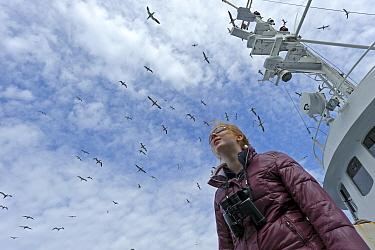 Young woman with binoculars round her neck watching a flock of Northern gannets (Morus bassanus) around the Island of Boreray, St Kilda archipelago, Outer Hebrides, Scotland, UK, June 2011 Gannets pac...  -  Chris Gomersall/ 2020V/ npl