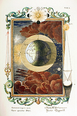 1731 Physica Sacra (Sacred Physics) by Johann Scheuchzer (1672-1733) the fourth day of creation folio copper engraving (with later hand colouring) drawn by a team of engravers under the direction of J...  -  Paul D Stewart/ npl