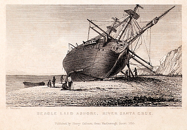 Illustration of 'Beagle laid ashore, River Santa Cruz' Copperplate engraving, art by Conrad Martens, engraved by T Landseer Published by H Colburn 1838 Plate from 'The Narrative of the Surveying Voyag...  -  Paul D Stewart/ npl